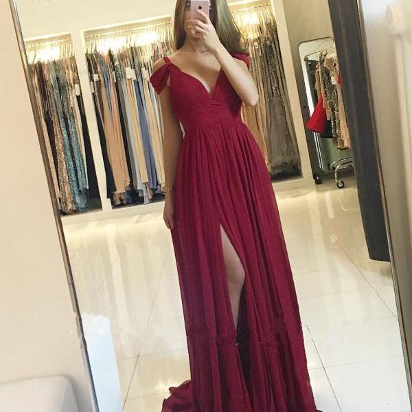 Off the Shoulder Prom Dress, Sexy Prom Dress, Chiffon Prom Dress, Burgundy Prom Dress, Prom Dresses with Side Slit, Women Formal Dress, Cheap Prom Dress, Prom Dresses 2017, V Neck Prom Dress