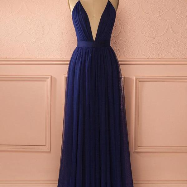 Navy Blue Bridesmaid Dress, Sexy Prom Dress, Deep V Neck Prom Dress, Long Bridesmaid Dress, Chiffon Bridesmaid Dress, Bridesmaid Dresses 2017, Cheap Bridesmaid Dress, Wedding Guest Dresses