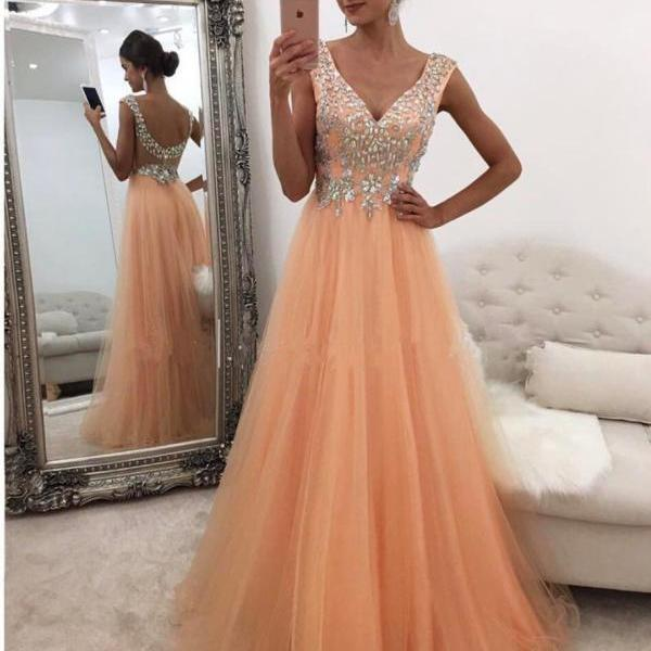 Peach Prom Dress, V Neck Prom Dress, Elegant Prom Dress, Floor Length Prom Dress, Cheap Prom Dress, Prom Dresses 2017, Women Formal Dresses, Long Prom Dress, Tulle Prom Dress, Beaded Prom Dress
