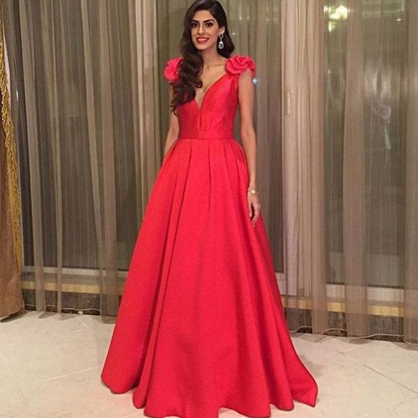 Sleeveless Prom Dress, Red Prom Dress, Deep V Neck Prom Dress, Prom Dresses 2017, Satin Prom Dress, Women Formal Dress, Elegant Prom Dress, Floor Length Prom Dress, Cheap Prom Dress, Arabic Evening Gown