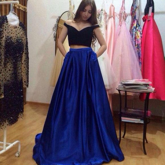Royal Blue Prom Dress, 2 Piece Prom Dresses, A Line Prom Dress, Satin Prom Dress, Long Prom Dress, Prom Dresses 2017, Women Formal Dresses, Elegant Prom Dress, V Neck Prom Dress, Satin Prom Dress
