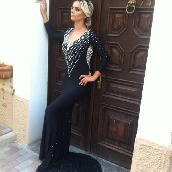 Black Evening Dress, Peals Evening Dress, Rhinestones Evening Dress, Mermaid Evening Dress, Long Sleeve Evening Dress, V Neck Evening Dress, Gorgeous Evening Dress, Formal Dresses for Women