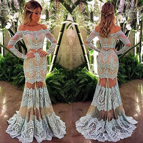 Blue Evening Dress, Lace Evening Dress, Off Shoulder Evening Dress, Long Sleeve Evening Dress, Sexy Formal Dress, Cheap Evening Dress, Evening Dresses 2017, Women Formal Dresses, Mermaid Evening Dress