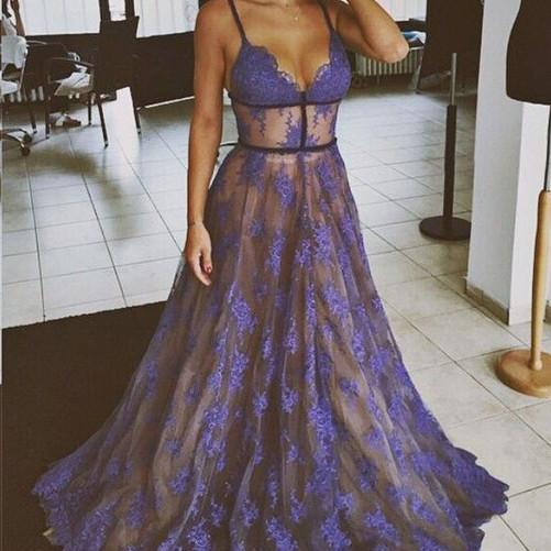 Purple Prom Dress, Lace Prom Dress, Spaghetti Strap Prom Dress, Floor Length Prom Dress, Elegant Prom Dress, Formal Party Dresses, A Line Prom Dress, Prom Dresses 2017, Cheap Prom Dresses