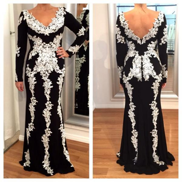 Black and White Evening Dress, Lace Applique Evening Dress, Winter Dress, Long Sleeve Evening Dress, Modest Evening Dress, Vintage Evening Dress, Formal Dresses 2018, Mermaid Evening Dress, Muslim Evening Gown