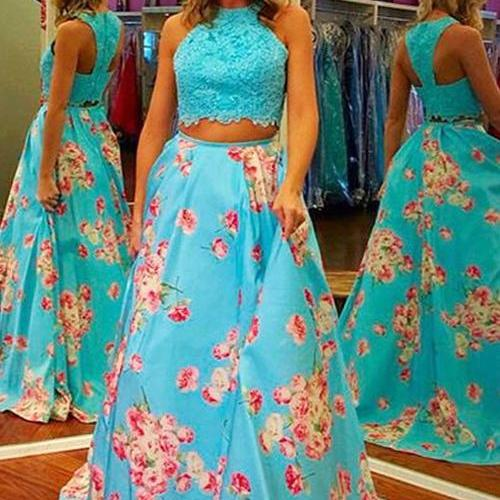 2 Piece Prom Dresses, A Line Prom Dress, Printed Prom Dress, Prom Dresses Long, Lace Prom Dress, Blue Prom Dress, Prom Dresses Long, Elegant Prom Dress, Cheap Prom Dress, Formal Dresses 2018