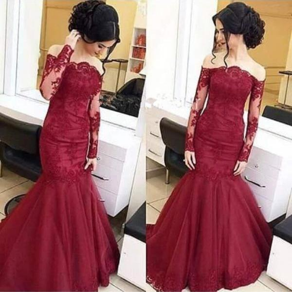 Burgundy Evening Dress, Lace Applique Evening Dress, Mermaid Evening Dress, Arabic Style Evening Dress, Elegant Evening Dress, Long Sleeve Evening Dress, Off the Shoulder Evening Dress
