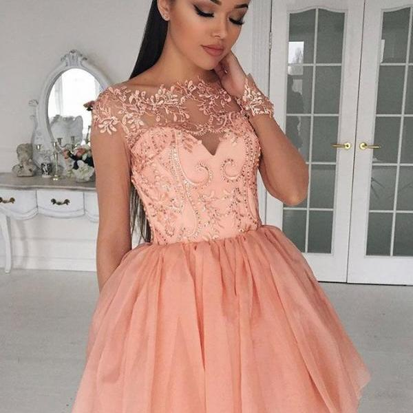 Peach Homecoming Dress, Beaded Prom Dress, Tulle Prom Dress, Homecoming Dresses 2018, Short Homecoming Dress, Applique Homecoming Dress, Cocktail Dresses, Cheap Prom Dress, Prom Dresses 2018