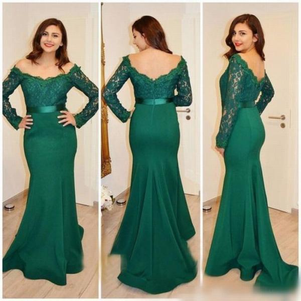 Mermaid Evening Dress, Long Sleeve Evening Dress, Lace Evening Dress, Evening Dress 2018, Cheap Evening Dress, Satin Evening Dress, Hunter Green Evening Dress, Elegant Evening Dress, Modest Evening Dress, Women Formal Dress