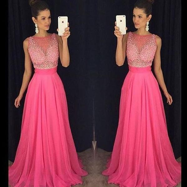Hot Pink Prom Dress, Beaded Prom Dress, A Line Prom Dress, Tulle Prom Dress, Sleeveless Prom Dress, Prom Dresses 2018, Evening Dresses 2018, Elegant Prom Dress, Women Formal Dress, Cheap Prom Dress