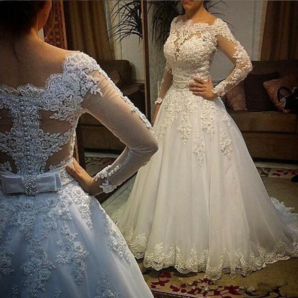 Long Sleeve Wedding Dress, Lace Applique Wedding Dress, Elegant Wedding Dress, Wedding Ball Gown, Princess Wedding Dress, Saudi Arabic Wedding Dress, Elegant Wedding Dress, Vestido De Novia, Gorgeous Wedding Dress