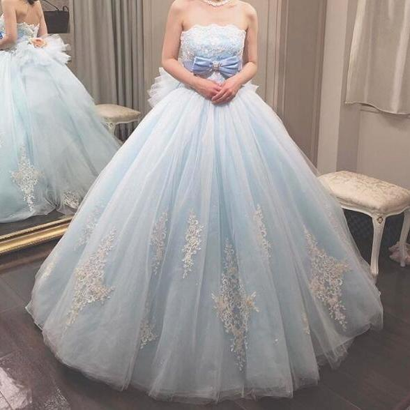 Blue Prom Dress, Prom Ball Gown, Lace Applique Prom Dress, Elegant Prom Dress, Cheap Prom Dress, Simple Prom Dress, Prom Dresses 2018, Vestido De Festa, Simple Prom Dress