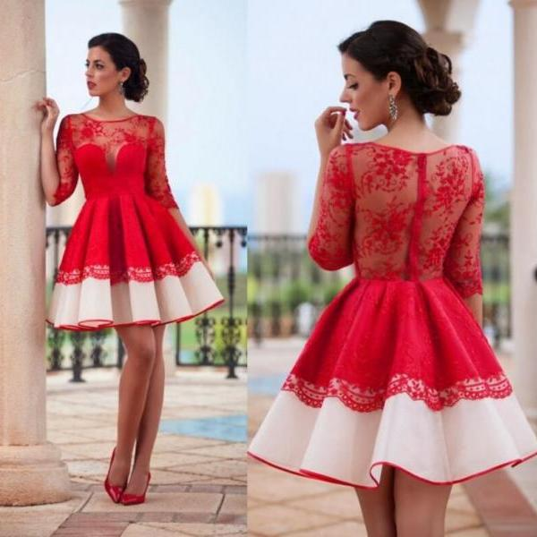 Red Homecoming Dress, Short Homecoming Dress, Cheap Homecoming Dress, Lace Applique Homecoming Dress, Cocktail Party Dresses, Homecoming Dresses 2018, Long Sleeve Homecoming Dresses