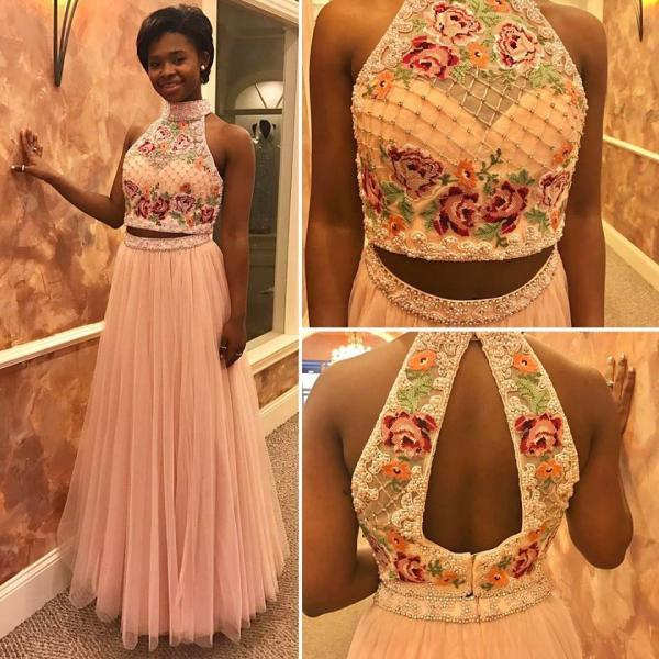 Embroidery Lace Prom Dress, Tulle Prom Dress, Elegant Prom Dress, Champagne Prom Dress, A Line Prom Dress, Prom Dresses 2018, Vestido De Festa, 2 Pieces Prom Dress