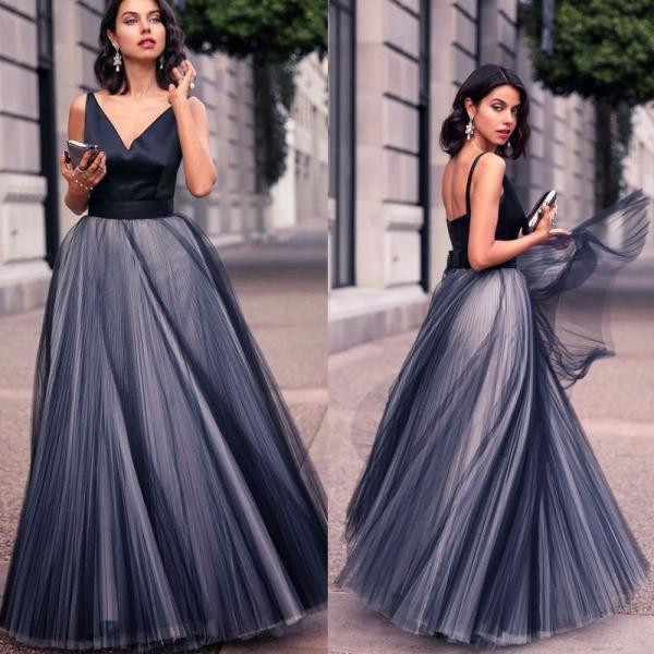Navy Blue Prom Dress, A Line Prom Dress, Prom Dresses 2018, Vestido De Novia, Open Back Prom Dress, V Neck Prom Dress, Sexy Prom Dress, Tulle Prom Dress, Floor Length Prom Dress