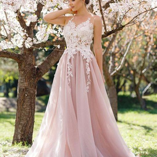 Dusty Pink Prom Dress, Lace Applique Prom Dress, Tulle Prom Dress, A Line Prom Dress, Prom Dresses 2018, Elegant Prom Dress, Floor Length Prom Dress, Vestido De Festa De Longo, Cheap Prom Dress