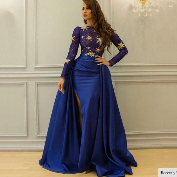 Blue Prom Dress, Saudi Arabic Prom Dress, Satin Prom Dress, Prom Dresses 2018, Vestido De Festa, A Line Prom Dress, Elegant Prom Dress, Long Sleeve Prom Dress, Sparkly Prom Dress, Bling Prom Dress, Vestido De Festa