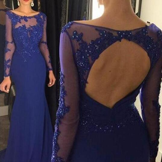 Royal Blue Evening Dress, Mermaid Evening Dress, Long Sleeve Evening Dress, Backless Evening Dress, Beaded Evening Dress, Lace Applique Evening Dress