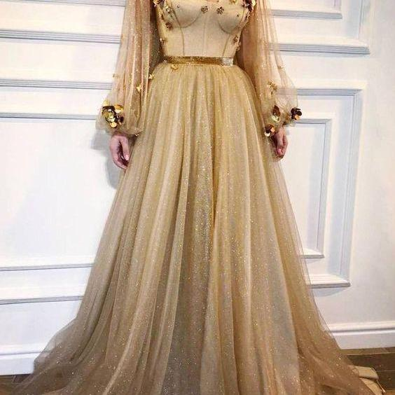 Gold Prom Dress, Long Sleeve Prom Dress, Embroidery Flower Prom Dress, Prom Dresses 2018, Elegant Prom Dress, Vestido De Festa, Saudi Arabic Prom Dress, Sparkly Prom Dress