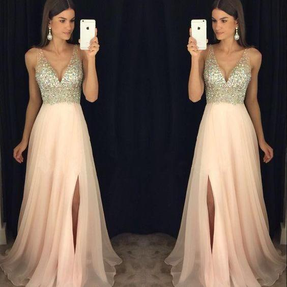 V Neck Prom Dress, Blush Pink Prom Dress, Beaded Prom Dress, Prom Dresses 2018, A Line Prom Dress, Prom Dresses Long, Sexy Formal Dress, Vestido De Festa, Robe De Soiree