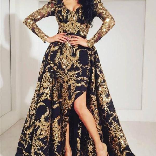 Long Sleeve Prom Dress, Black and Gold Prom Dress, Arabic Style Prom Dress, Prom Dresses 2018, Elegant Prom Dress, Luxury Prom Dress, Vestido De Festa, Detachable Skirt Prom Dress