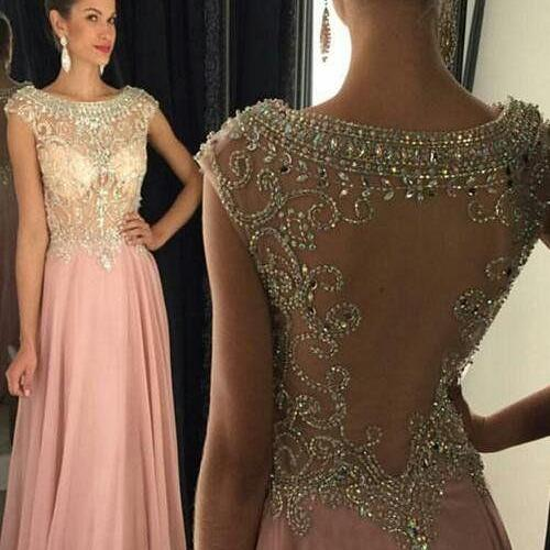 Cap Sleeve Prom Dress, Beaded Prom Dresses, 2019 Prom Dress, Crystal Prom Dresses, Chiffon Prom Dresses, A Line Prom Dress, Sheer Back Prom Dresses, Luxury Prom Dress, Women Formal Dress