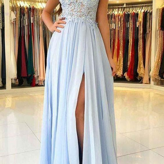 Off the Shoulder Prom Dress, Prom Dresses 2019, Blue Prom Dress, Chiffon Prom Dress, A Line Prom Dress, Vestido De Festa, Robe De Soiree, Cheap Prom Dress, Lace Prom Dress