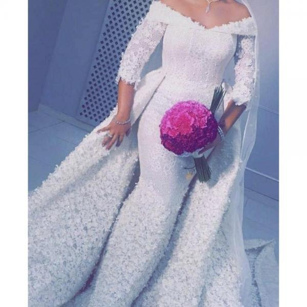 Arabic Wedding Dress, 3D Flowers Wedding Dress, Detachable Skirt Wedding Dress, Wedding Dresses 2019, Vestido De Novia, Lace Wedding Dress, Wedding Dresses 2019, Robe De Mariee
