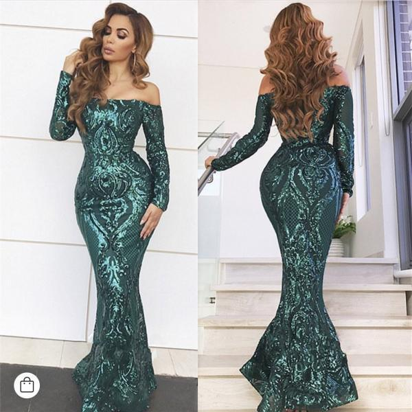Hunter Green Evening Dress, Mermaid Evening Dress, Long Sleeve Evening Dress, Off the Shoulder Evening Dress, Evening Gown, Robe De Soiree, Sequin Applique Evening Dress, Sexy Formal Dresses 2019