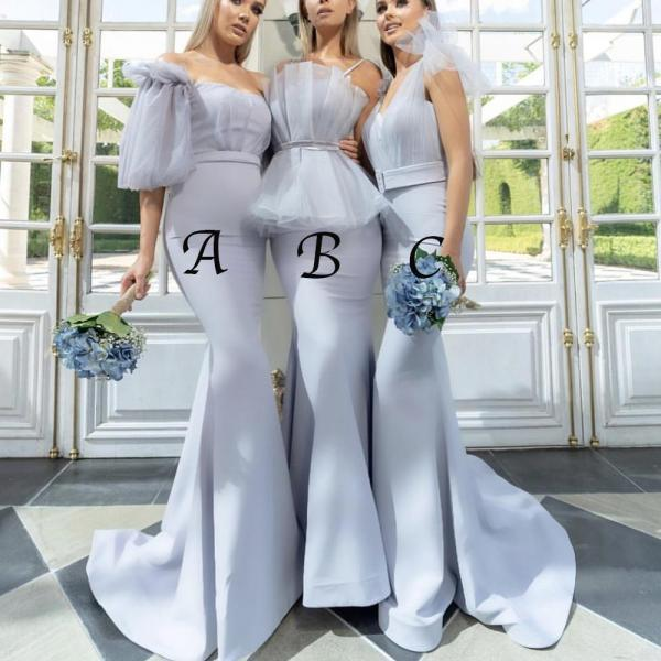 Mermaid Bridesmaid Dress, Bridesmaid Dresses Long, Silver Bridesmaid Dress, Cheap Bridesmaid Dress, Wedding Party Dress, Mismatched Bridesmaid Dress, Bridesmaid Dresses 2019