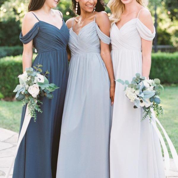 2019 Off the Shoulder Long Bridesmaid Dresses Chiffon Cheap A Line Sage Green Wedding Party Dress