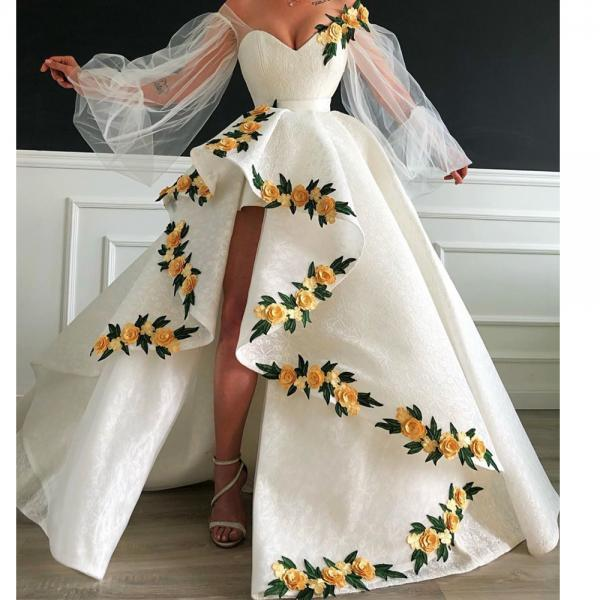 high low prom dresses 2020 long sleeve embrodiery applique ivory prom gowns 2019 vestido de festa