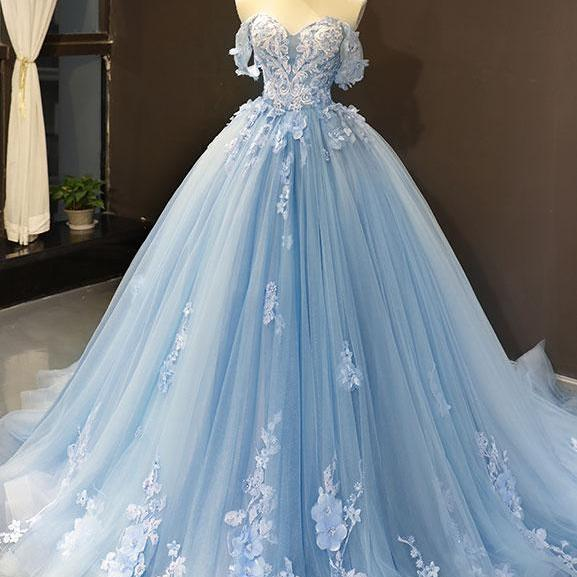 Blue Wedding Dresses 2020 Lace Applique