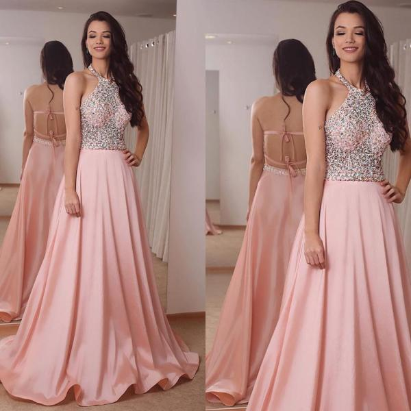 halter pink prom dresses long beaded satin sleeveless sexy women formal dresses prom gown 2020 vestido de longo