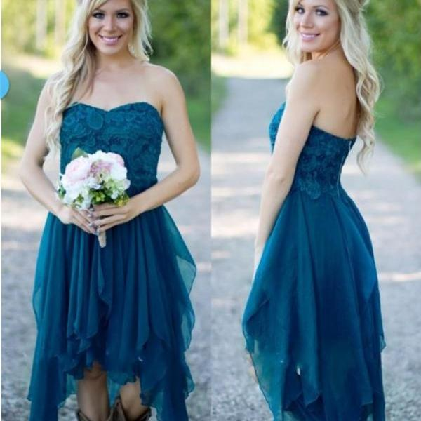 short bridesmaid dresses 2020 lace applique teal blue chiffon tiered wedding guest dress robe de soiree