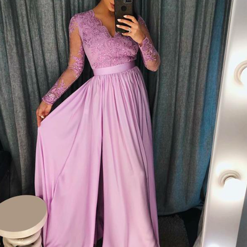 lilac lace applique prom dresses long sleeve chiffon beaded v neck elegant a line cheap prom gown vestido de longo 2020