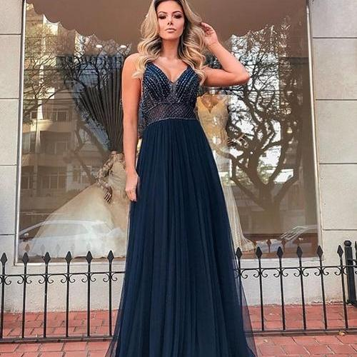 navy blue beaded prom dresses long v neck spaghetti straps cheap senior formal dress prom gown vestido de festa robe de soiree