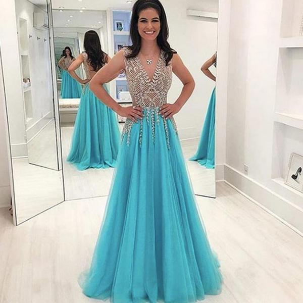sleeveless blue prom dresses 2020 beaded v neck a line tulle cheap prom gowns robe de soiree vestido de longo