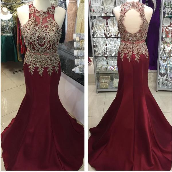 o neck burgundy evening dresses long 2020 lace applique beaded elegant vintage sexy formal dress evening gown robe de soiree