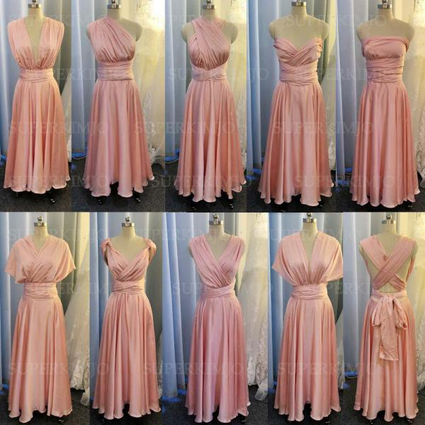 pink convertible bridesmaid dresses long satin infinite cheap custom simple elegant wedding guest dresses