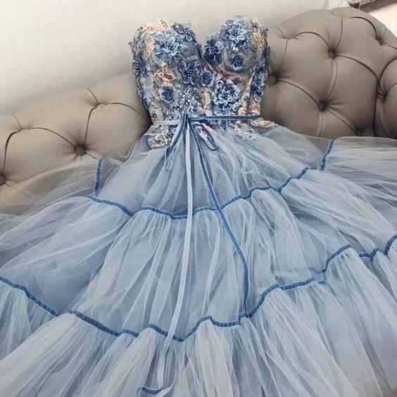 blue prom dresses long sweetheart neck floral beaded elegant tulle a line prom gown vestido de longo 2021