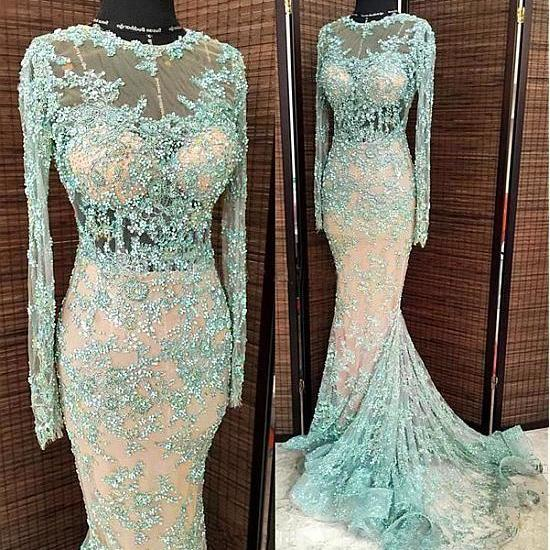 long sleeve blue evening dresses 2020 lace applique beaded mermaid modest sexy formal evening gown 2021 robe de soiree