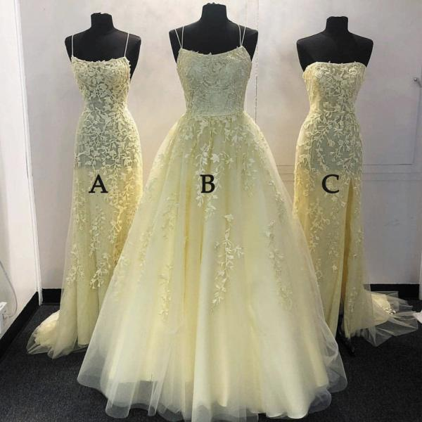 yellow prom dresses long mismatched lace applique elegant cheap tulle senior prom gown vestido de fiesta