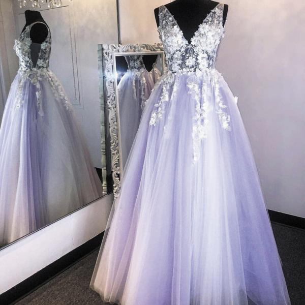 handmade flowers purple prom dresses 2020 sleeveless v neck lace applique tulle lavender senior prom gown 2021 abendkleider