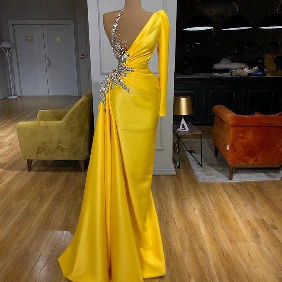modest evening dresses long sleeve one shoulder yellow beaded mermaid elegant real photo evening gown vestido de fiesta