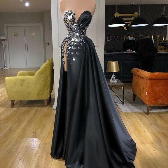 detachable skirt black prom dresses 2020 beaded vintage elegant sweetheart neck satin prom gown 2021 robe de soiree