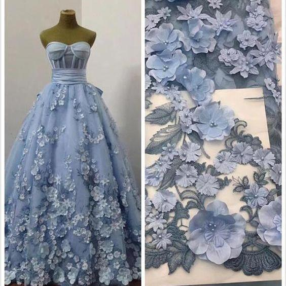 sweetheart neck blue prom dresses ball gown 3d flowers elegant a-line floral prom gown vestido de fiesta 2021