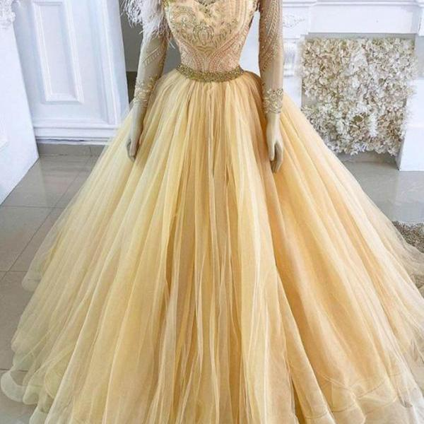 luxury prom dresses 2020 beaded applique feather yellow prom ball gown pageant dresses for women sweet 16 dresses