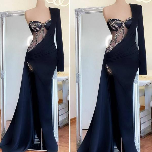 black evening dresses 2020 one shoulder vintage beaded mermaid detachable skirt modest evening gown 2021