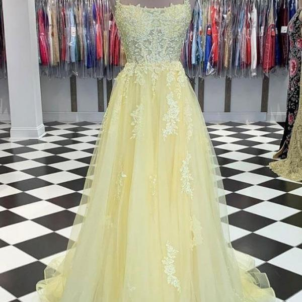spaghetti strap yellow prom dresses long tulle lace applique beaded a line elegant simple prom gown vestido de longo